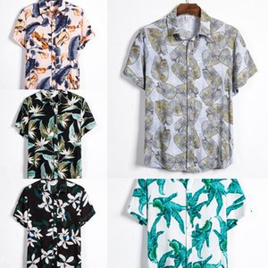 Aoliwen brand summer best selling Men's beach shirt short sleeve floral loose loose shirt Hawaiian stitching colorful fancy J1216