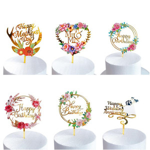 Creative Cake Decoration Acrylic Flower Wedding MR&MRS Anniversary Cake Toppers Happy Birthday Toppers Gift Supplies