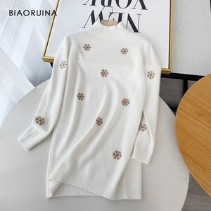 Biaoruina Femmes Snowflake Broderie Confortable Casual Casual Pull Turtleneck Pull Femme Automne Hiver Pull moelleux