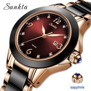 Montre Relogio LIGE Marque Sunkta Fashion Watch Femmes Bracelet en céramique et alliage Analogique Femmes Montre-bracelet