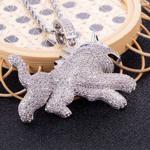 Iced Out Pendant Mens Luxury Designer Jewelry Hip Hop Necklace Statement Diamond Pendants Stainless Steel Rope Chain Charms Fashion Jewerly