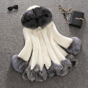 2021 Winter Thick Warm Faux Fur Coat Women Plus Size Hooded Long Sleeve Faux Fur Jacket Luxury Winter Coats Bontjas