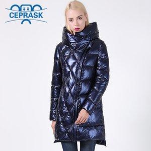 Abrigo de invierno con capucha gruesa Biológico-abajo de la chaqueta de la chaqueta de invierno nuevo Mujeres del brillo Tamaño más largo encapuchado Mujeres Parka Ceprask 201007