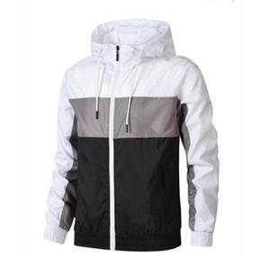 Venta caliente hombres mujeres lujosos nuevos deportes rompevientos chaquetas colores contrato de remiendo chaqueta impermeable cremalleras arriba capas con capucha
