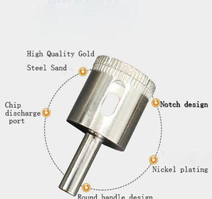 Diamond Hole How Tool Marble Diamond Core Drill bit Bit di ceramica Piastrella per perline Coltello dilatore Vetro Drill di vetro Bit wmtlaij xhlight