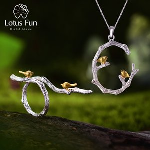 Lotus Fun Real 925 Sterling Silver Original Handmade Fine Jewelry Bird on Branch Jewelry Set with open Ring Pendant Necklace F1219
