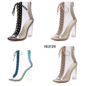 HBP Niufuni Plus Size Mulheres Ankle PVC Transparente Salto Alto Botas de Chuva Mulheres Sapatos Primavera Outono Peep Toe Botas Mujer Q1216
