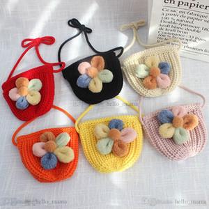 Cute knitting wool Mini girls purse handwork flower girls bags baby bags cartoon kids purse girls shoulder bags messenger bag B3649