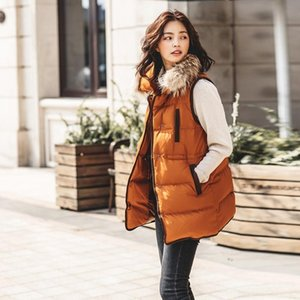 Autumn And Winter New Contrast Color Long Section Waist Sleeveless Fur Collar Down Jacket Vest Vest Female