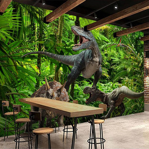 Custom Photo Wallpaper 3D Dinosaur Forest Rainforest Landscape Mural Bedroom Self-adhesive Wall Murals Wall Papers Home Decor