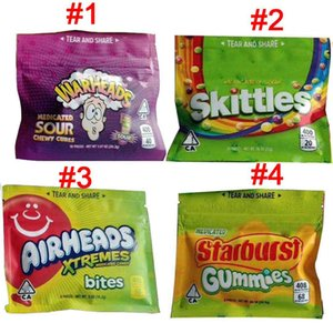 Skittles Starburst Gummies WARHEADS Airheads Xtremes Medicated Sour Rainbow Gummy Bag 400 408mg Candy Bites Seattle Edibles Zipper Package