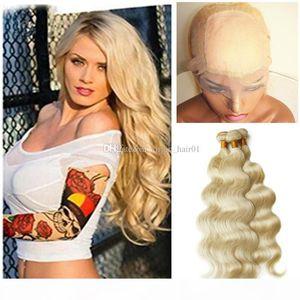 Blonde Silk Basis 360 Lace Band Frontal Mit Bundles # 613 Blonde Menschliches Haar Mit 360 Lace Frontal Mit 4 * 4 Silk Base-Körper-Welle