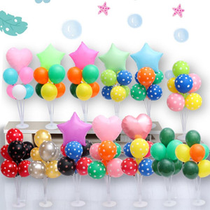 Star Heart Latex Balloons Stand Holder Column Stick Kids Adult Birthday Party Decorations Wedding Ballon Accessories dq01