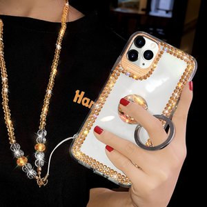 Luxury Bling Diamond Ring Stand Mirror TPU PC Case Free Strap For iPhone 12 11 Pro MAX 8 7 6 6S Plus SE 2020 SE2