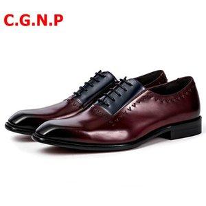 C.G.N.P Goodyear Business Formal Zapatos Hombres Color mezclado Patchwork Cuero genuino Oxfords Oxfords Zapatos para hombre Boda