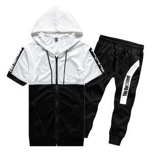 Browon Brand 2020 Men Summer Set Summer Tacksuit T-shirt de algodón corto + Pantalón largo Dos piezas Set Ropa de los hombres para