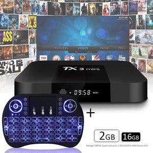 Caixa de TV Android Best Selling TX3 Mini 2G 16G Smart TV Box Suporte WiFi 2.4G + 5G Bluetooth Teclado Sem Fio RII Mini I8