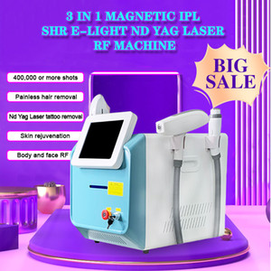 3 en 1 machine de beauté multifonctionnelle IPL SHR Laser ND YAG Removrage permanent de cheveux permanent / Résultats de cheveux IPL SHR + Q Switch Switch Tattoo Retrait