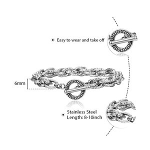 Clasp 6mm Cable Design Men For Gifttbs007 Toggle Bracelet Twristed Women Rolo Unique Chain Link Jewelry Steel Stainless tsetFjB whole2019