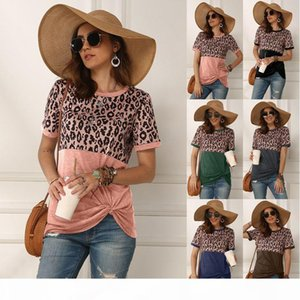 Original design European and American women's wear spring and summer 2020 New hot selling leopard print splicing Short Sleeve womenT-Sh