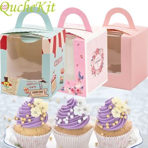 20 pieces gift box with window rose crown kraft paper cake packaging candy Mousse Cake cassette holder