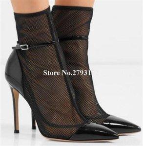 Mulheres Elegante Apointado Toe Malha Fina Botas Curtas Botas Cut-Out Lace Ankle Strap High Heel Ankle Boots Wedding1