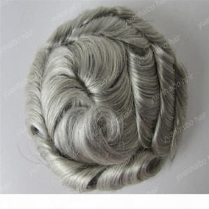 New arrival 6inch natural wave malaysian remy hair silver gray toupees for old men free shipping