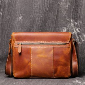 Business Briefcases Bag Men for Lawyer Vintage Crazy Horse Leather Laptop Briefcases Bag 12inch Office Document Bags Men