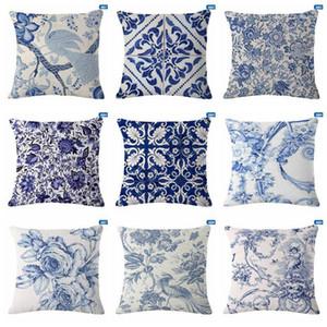 Подушка / декоративная подушка подушка чехлы синие белые напечатанные льняные крышки высокого качества диван постельное белье винтажный декоративный бросок Case1