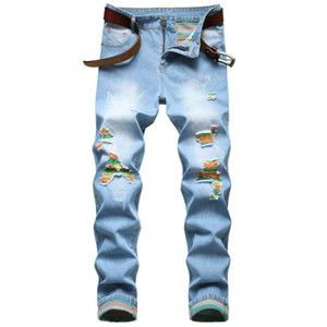 QUANBO Erkek Ripped Sıkıntılı Jeans 2020 Yeni Sonbahar Kış Moda Slim Fit Düz Bacak Denim Jeans Işık Mavi Ripped