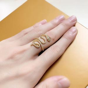 Новый Модные фианитами камни Зеленые глаза Змея ювелирные изделия кольца медные открытые регулируемые кольца для женщин Mens подарка с коробкой