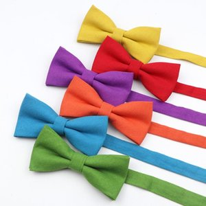 Colorful Mens Linen Bow Tie Solid Color Classic Smooth Flexible Bowtie Tuxedo Butterfly Wedding Party Dinner Gift Accessory