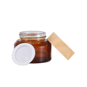 Wholesale 15g 30g 50g Olive Green Brown Cosmetic Glass Bottles Containers Empty Skin Care Cream Jars With Plastic Wood Grain Lids