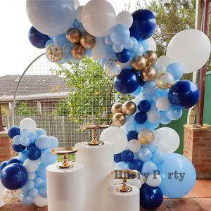 118Pcs Baby Shower мальчик синий белый Воздушные шары Гирлянды Arch Metallic Gold конфетти Ballon 30Th Birthday Party украшение фоном 1027