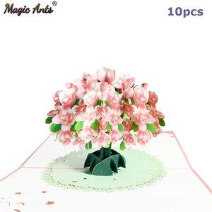 Tarjeta de la flor de 10 paquetes Pop Up 3D Tarjetas de felicitación para el Día de San Valentín Día de la Madre te mejores Cumpleaños Aniversario Simpatía sqcbIc mayorista