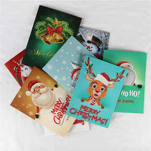 Taladros de diamantes felicitación de la pintura de cumpleaños de dibujos animados de Navidad Especial Tarjetas Postales 5D bricolaje Festival Niños bordado Greet tarjetas de regalo DWD2542