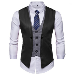 Fake 2 pcs Men Casual Waistcoat Plus size S-3XL Businesswear Suits Vests Dress&Smart Blazer Vest With Tie Slim Fit Gilet Homme1