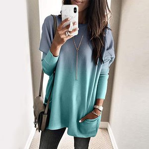 O-neck Long Sleeve Gradient Color Loose Casual T Shirt Women Autumn Pocket Long Tops Plus Size Woman Tshirts T-shirt 201013
