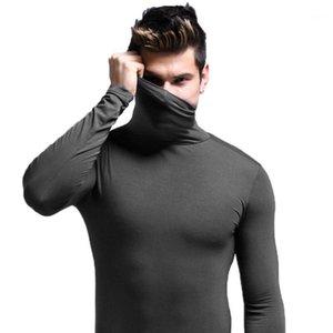Hot outono inverno fundo t-shirtmen tecido modal underwear térmico tops manga longa pescoço envoltório elástico seamless roupas quentes1