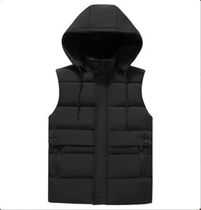 2021 New Men Mens Winter Sleeveless Jacket Cotton Vest Men's Warm Thick Hooded Coats AVTX