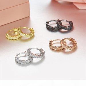 Solid 925 Sterling Silver 4 Gold Colors Ears of Wheat Hoop Earrings Zircon Cute Heart Earrings for Women Fashion Jewelry