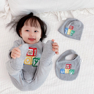 2021 high quality Infant Baby Boys girls Romper Cotton Long Sleeve Jumpsuit and Hat bib Autumn Toddler Clothes Outfits