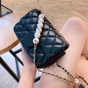 Diseñador de 2020 Cadena de verano perla de la nueva perla del diamante de Asuntos Exteriores bolso femenino salvaje de la PU mini mensajero del hombro del bolso de la manera salvaje dulce señora Bag