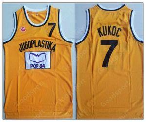 Rétro européen yougoslavie 7 kukoc jersey Jugoplastika divisé Pop Hommes Basketball Jersey Vintage Shirt cousu Collection classique Nouveaux fans