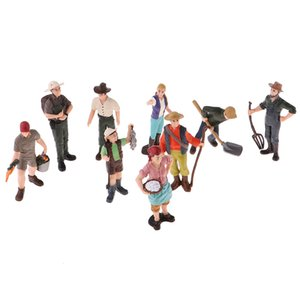 9 Pieces HO Scale Tiny People Model Simulation People Model Farmer Characters Action Figures Hand Painted Figure Standing Pose