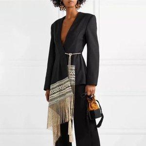 Женские костюмы Blazers Follow Fit Contrics Contrast Color Tasse ремень куртка V-образным вырезом с длинным рукавом женщины пальто мода осень зима 20211