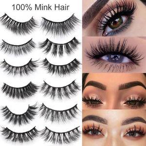 100% Mink Eyelashes Wispy Fluffy Fake Lashes 3D Makeup Big Volume Crisscross Reusable False Eyelashes Extensions With Retail Box 2021