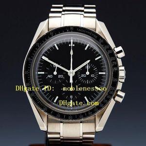 Top Quality Wristwatch Mens Black Dial Chrono Work Professional Stainless Steel Bracelet Quartz Chronograph Sport Men's Watches Mens Watch