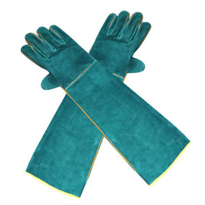 1 Pair Anti-bite Green Gloves Cow Leather Canvas Ultra Long Wild Snakes Catching Pet Training Protective Accessories Q0114