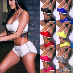 7 COLORS set woman 2 pieces pants Sport Camis Running Shorts Pant Vest Pants Stretch Tracksuit female suit